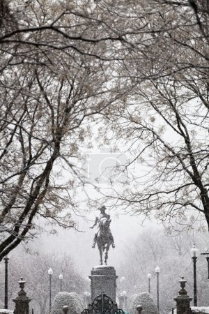 George Washington statue in snowfall, Boston