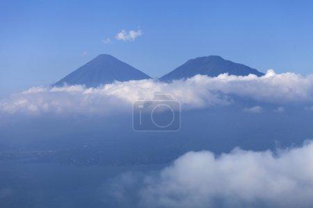 View of Toliman and San Pedro Volcanoes, Guatemala