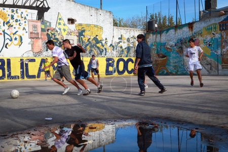 BUENOS AIRES MAY 01: Soccer players in the Caminito street in th