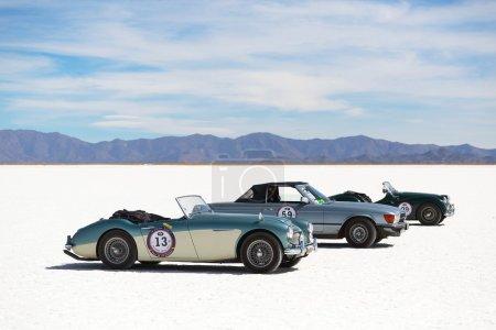 SALINAS GRANDES, ARGENTINA - MAY 04: Retro cars participating in