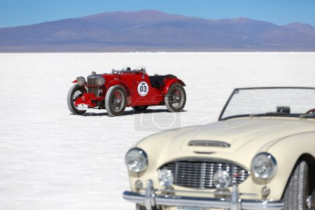 SALINAS GRANDES, ARGENTINA - MAY 04: Retro cars participating in