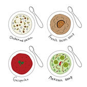 Different soups in white bowl Vector illustration