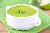 Velvety cream soup from a gentle green peas