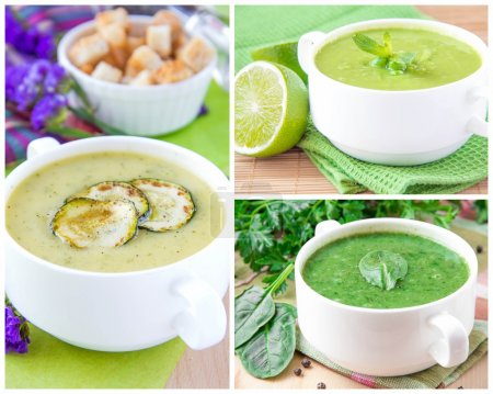 Collage with a green healthy cream soups
