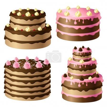 Illustration pour Gâteau au chocolat d'anniversaire avec crème rose et chocolat - image libre de droit