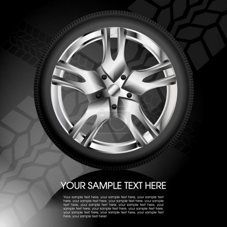 Illustration for Shiny car wheel with tire track background eps10 - Royalty Free Image
