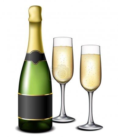 Illustration pour Bouteille de champagne avec deux verres complets - image libre de droit