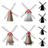 Windmill set with silhouettes