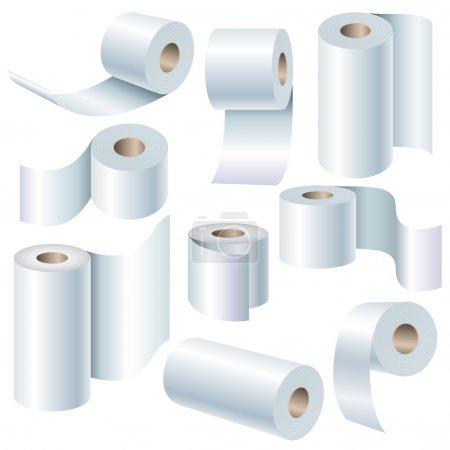 Photo pour Ensemble de rouleau de papier dans différentes positions isolées sur blanc - image libre de droit