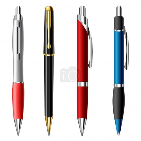 Illustration for Realistic ballpoint pen set isolated on white - Royalty Free Image