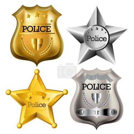 Illustration pour Badge de police or et argent isolé sur blanc - image libre de droit