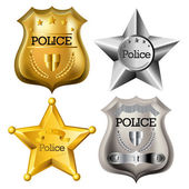 Gold and silver police badge set isolated on white