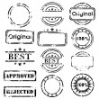 Grungy stamp collection isolated on white...