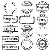 Grungy stamp collection isolated on white