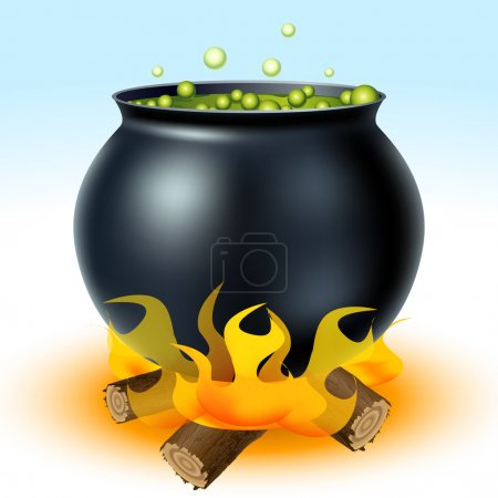 Illustration for Witch cauldron on fire with green liquid eps10 - Royalty Free Image