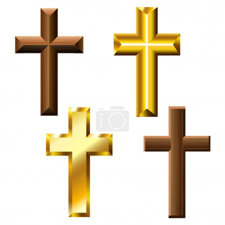 Photo for Wood and gold cross set isolated on white - Royalty Free Image