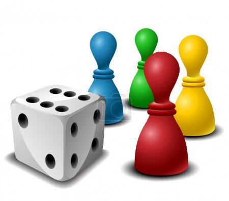 Illustration pour Figurines de jeu de société avec dés isolés sur blanc - image libre de droit