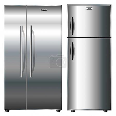 Illustration pour Deux types différents de réfrigérateurs métalliques - image libre de droit