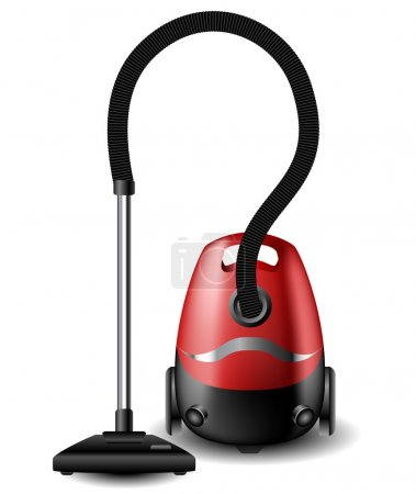 Red Vacuum cleaner isolated on white...
