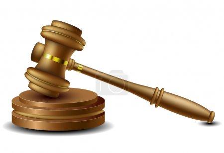 Illustration pour Marron en bois Juge marteau isolé sur blanc - image libre de droit