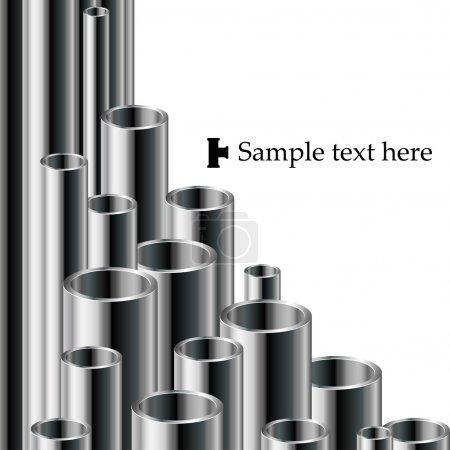 Illustration pour Blanc Fond de texte industriel avec ensemble de tuyaux métalliques - image libre de droit