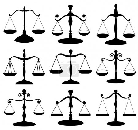Illustration for Black law scale symbol silhouette set isolated on white - Royalty Free Image