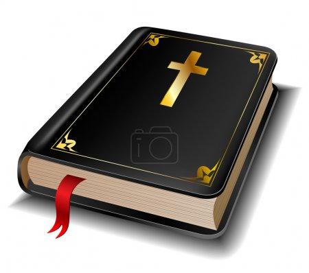 Photo pour Sainte Bible avec symbole de croix d'or isolé sur blanc - image libre de droit
