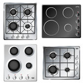Kitchen stove hob set from above