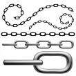 3d closeup and silhouette chain set isolated on white