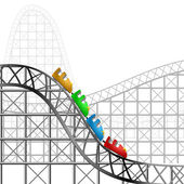 Roller coaster with colorful cars
