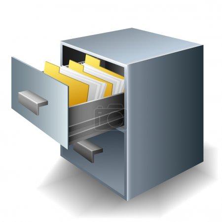 Illustration pour Classeur métallique avec tiroir ouvert plein de dossiers et de documents - image libre de droit