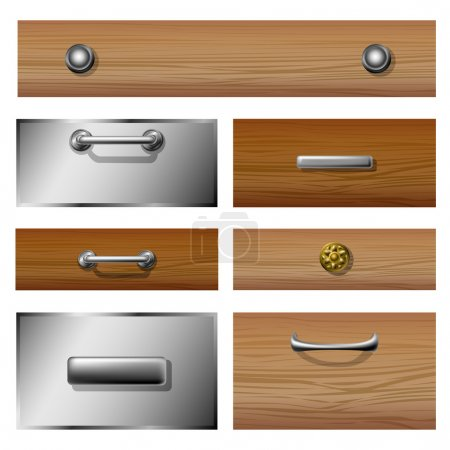 Illustration for Drawer front set made from different materials and different styled knobs - Royalty Free Image