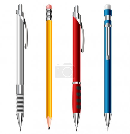 Illustration for Pencil set with modern and old types isolated on white - Royalty Free Image