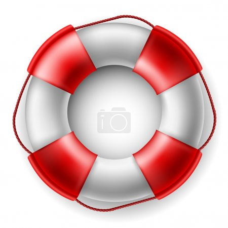 Illustration for Red and white Life saver isolated on white - Royalty Free Image