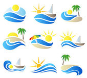 Summer vacation in nature icon set with abstract symbols