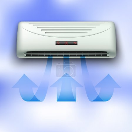 Illustration for Cold stream coming from air conditioner in front view on blue sky background eps10 - Royalty Free Image