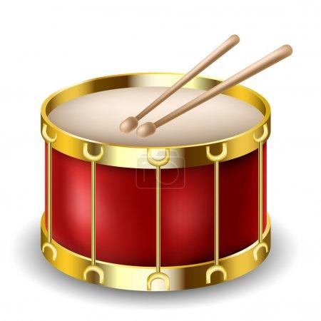 Illustration pour Tambour rouge et pilons isolés sur blanc - image libre de droit