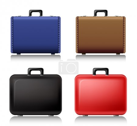 Illustration for Different styled Suitcase set from front view - Royalty Free Image