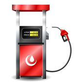 Red Gas station pump with fuel nozzle isolated on white