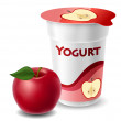 Apple yogurt cup with red apple...