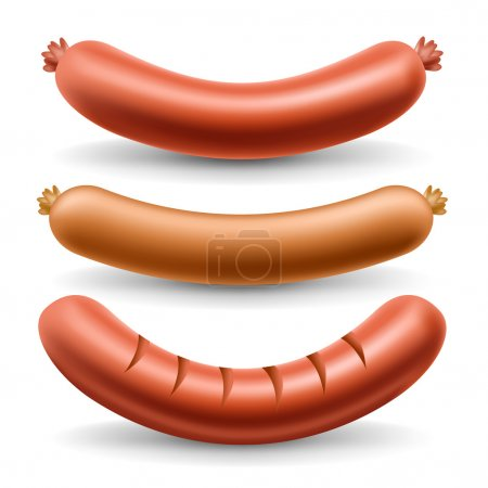 Three types of Sausage set isolated on white ideal...