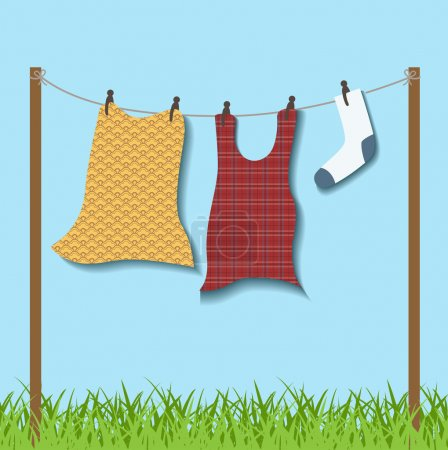 Hanged clothes on rope