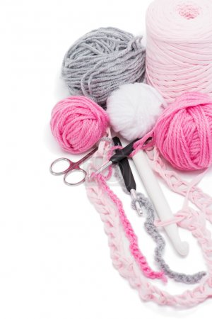 yarns and crochet hooks