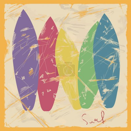 Illustration of colorful surfboards
