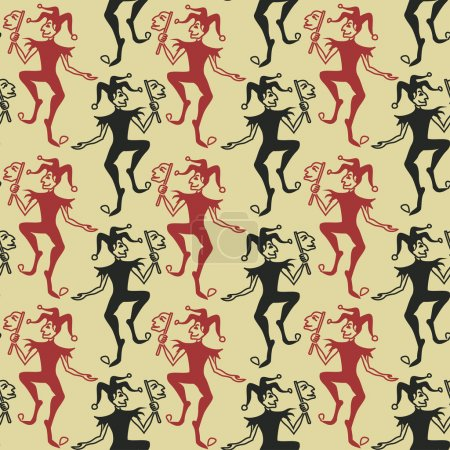 Illustration for Funny vintage seamless pattern of Jokers - Royalty Free Image