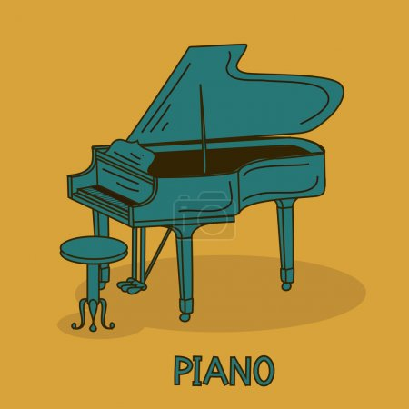 Illustration pour Illustration avec piano à queue et chaise - image libre de droit