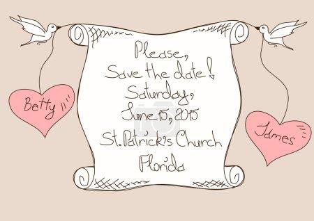 Illustration pour Faire-part de mariage ou une carte avec oiseaux tenant un rouleau de papier - image libre de droit