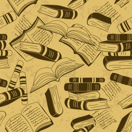 Vintage seamless pattern of books...