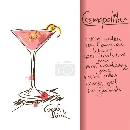 Illustration pour Illustration avec cocktail cosmopolite dessiné à la main - image libre de droit