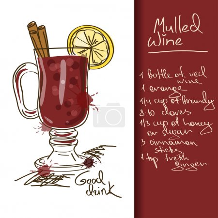 Illustration with Mulled Wine cocktail